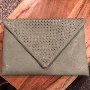 Sea Foam Green Clutch with Stud Embellishment